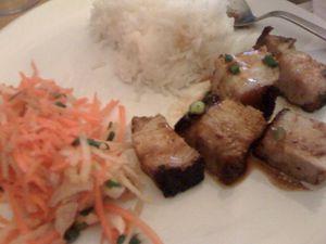 Plat porc salade riz